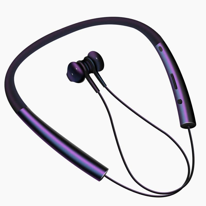 Kusdo Bluetooth Earphone Nirkabel Magnetik Neckband Earbud Sport Stereo Earphone untuk Samsung Xiaomi dengan MIC