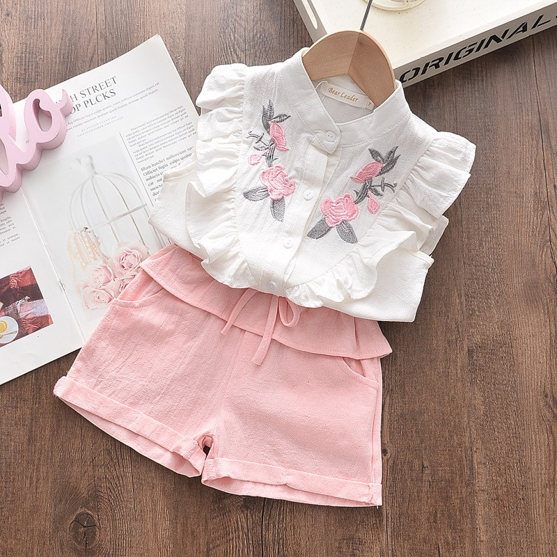 Girls Embroidered Sleeveless Shirt + Shorts Two-piece Suit Summer Cute Flower Clothes 3-8 Years Old Kid Casual Sport Suit Tshirt 2