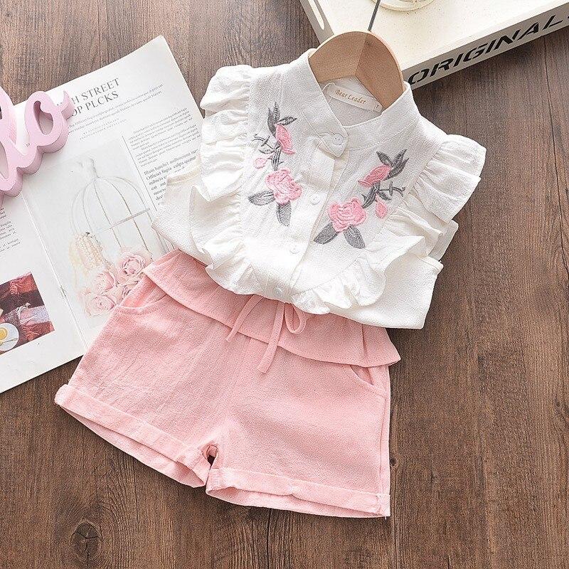 Рубашка без рукавов с вышивкой для девочек + шорты, костюм из двух предметов летняя Милая одежда с цветочным принтом От 3 до 8 лет, Детский Пов...