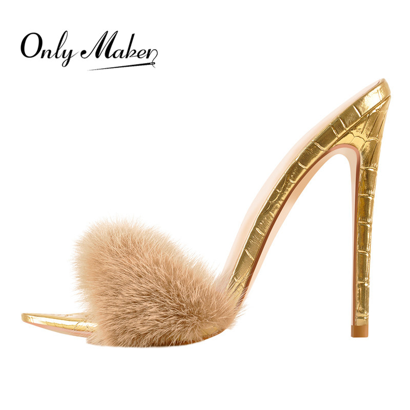 Onlymaker Peep Toe Mules Artificial Fur Slip On Gold White Thin High Sandals Big Size High Quality Summer Women Brand Sandals