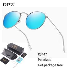 DPZ Classic 3447 Round Metal Polarized Sunglasses Women Men Vintage Retro Brand