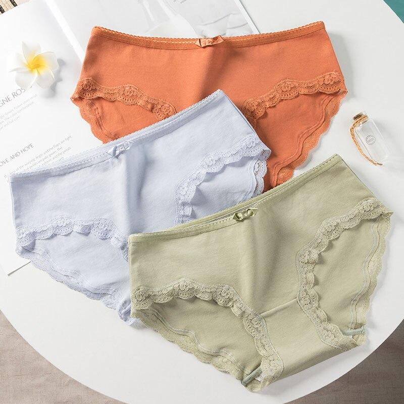 Roseheart Women Fashion Orange Blue Cotton Mid Waist Panties Underwear Lingerie Lace Briefs 3 Piece Color Underpants XL