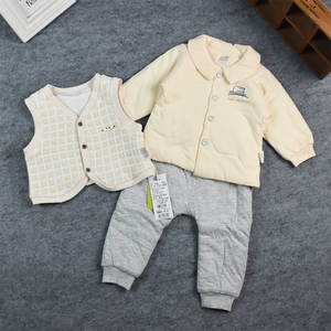 Waistcoat Three-Piece-Set Collar-Out Baby Cotton Infant Thin Plaid Padded Embroidery
