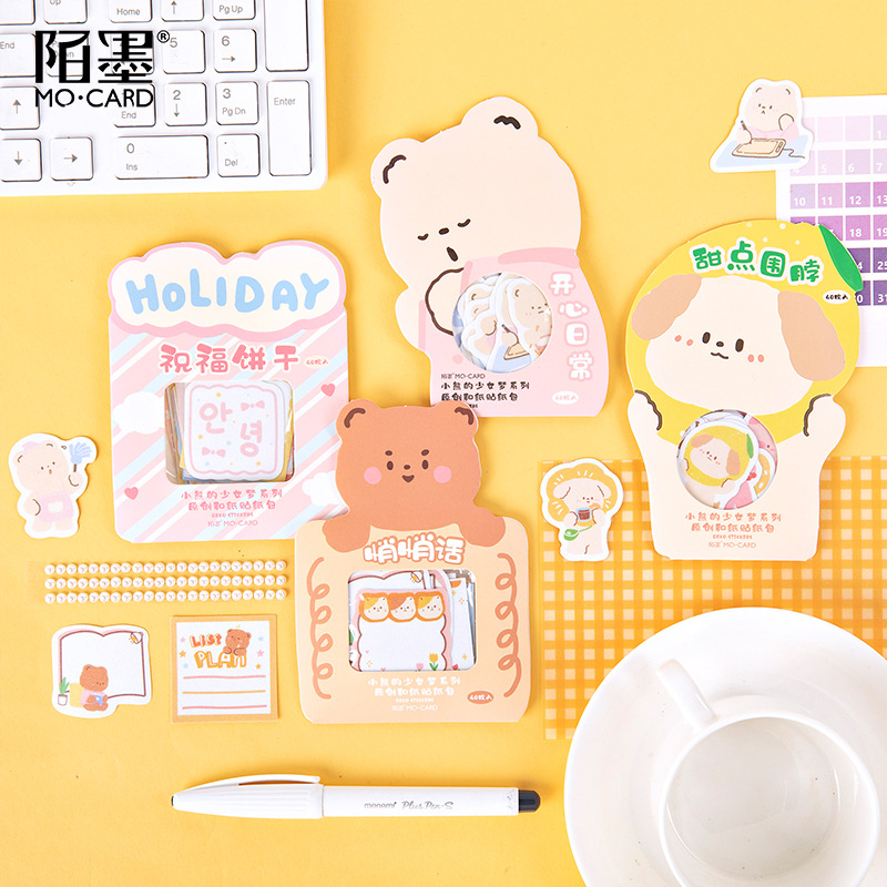 40 Pcs/pack Little Bear's Girl Dream Series Journal Decorative Stickers Scrapbooking Stick Label Diary Stationery Album Stickers