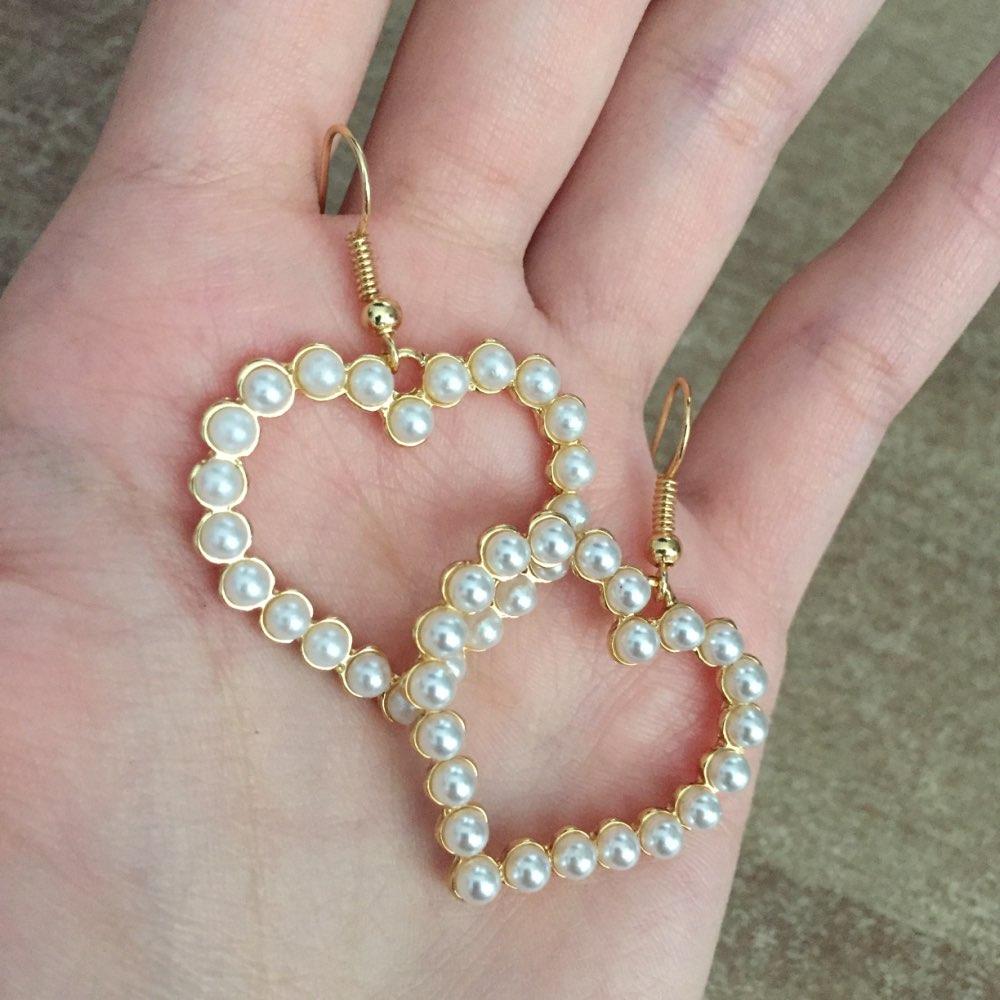 Flashbuy Gold Heart Pearl Drop Earrings For Women Statement Pearl Dangle Earrings Simple Fashion Jewelry Trendy Accessories 2