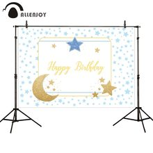 Allenjoy Happy Birthday Event Supplies Blue Stars Step And Repeat Golden Glitter Moon White Photocall Baby Shower Party Decor(China)