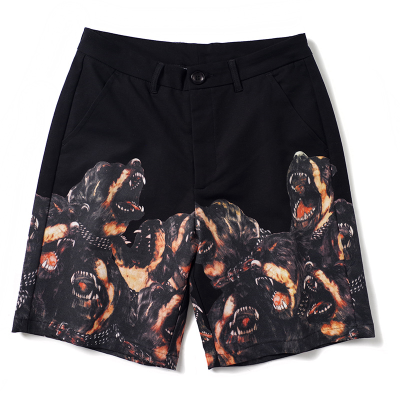 High New 2020 Luxury Novelty Men Comfortable Roaring Hound Dog Classic Striped Skateboard Street Cotton Casual Shorts #N258