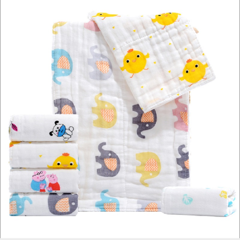 Baby Towel Cotton 6 Layers Gauze Kids Newborn Hand Bathing Wash Towel Children Baby Towel Infant Cartoon Soft Face Towel 34*75cm