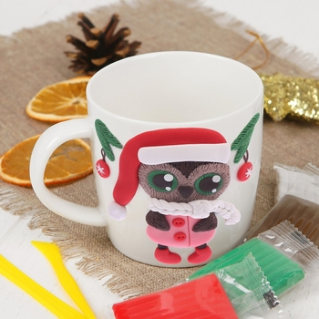 A set for creativity. Mug for decoration with polymer clay