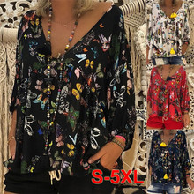 2020 large size loose blouse V-neck thin printed casual top ladies thin section nine-point sleeve shirt