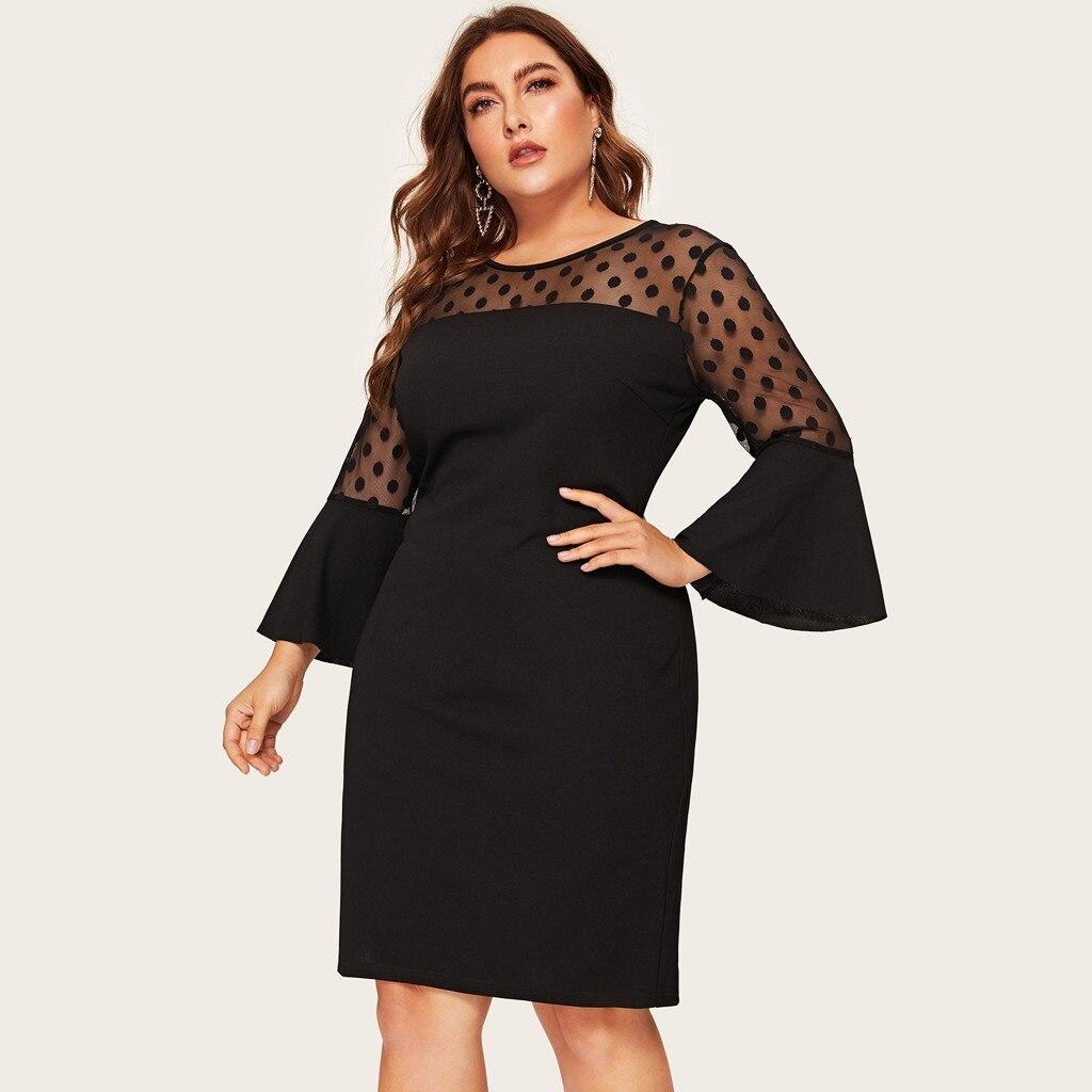 Plus Size Dress Women O neck Flare Sleeve Polka Dot Mesh Patchwork Midi Dress Party Dresses Woman Party Night 2020 Vestido #F Dresses  - AliExpress