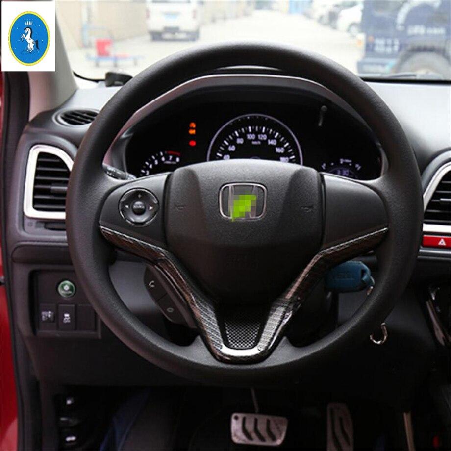 Yimaautotrims Auto Accessory Steering Wheel Strip Cover Kit Trim Fit For Honda HRV HR-V Vezel 2014 - 2019 ABS Matte Carbon Fiber