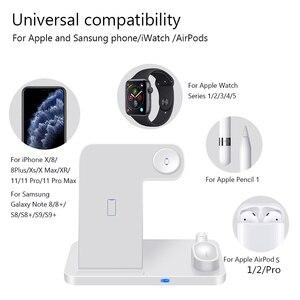 Image 2 - Sạc Không Dây 4 Trong 1 W Sạc Nhanh Cho iPhone 11 11pro XS XR XS Max 8Plus Cho đồng Hồ Apple 5 4 3 2 Tai Nghe Airpods Pro Bút Chì Miếng Lót