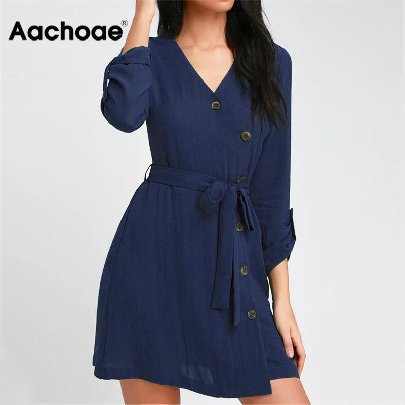 Aachoae 2020 Summer Mini Dress Women V Neck Long Sleeve Button Dress Bandage Party Dress Casual Solid Dresses Sundress Vestido
