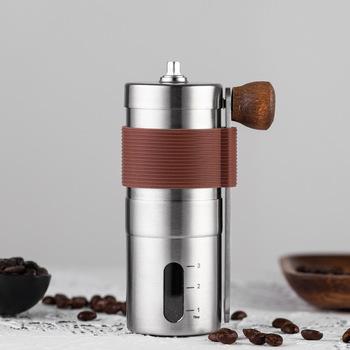 Srebrny młynek do kawy Mini instrukcja obsługi ze stali nierdzewnej ręcznie młynki do kawy Burr młynki młynek do narzędzi kuchennych tanie i dobre opinie CN (pochodzenie) STAINLESS STEEL Zmywalna