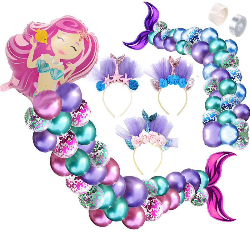 Little Mermaid Tail Balloon Garland Set Latex Balloon Arch For Mermaid Party Baby Shower Wedding Girl Birthday Party Decoration