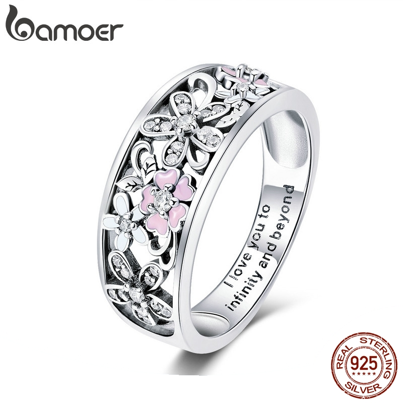bamoer 925 Sterling Silver Daisy Flower & Infinity Love Pave Finger Rings for Women Wedding Engagement Jewelry SCR390