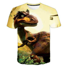 3D dinosaur fashion casual T-shirt for boys and girls, animal fashion cartoon T-shirt, customized short sleeve T-shirt for boys,