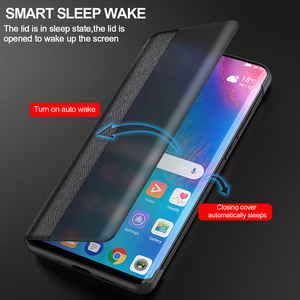 Image 3 - Originele Lederen Flip Cover Voor Huawei P40 Pro Plus Case Spiegel Smart Touch View Windows Voor Huawei P30 P20 pro Case