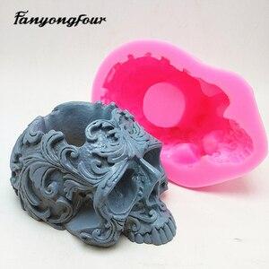 Image 2 - Schedel bloempot siliconen mal bakvorm kaars hars chocolade snoep gips mold gratis verzending