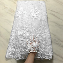 Mesh Lace Dress Fabric-Flower Embroidery Stones Beads French African High-Quality of