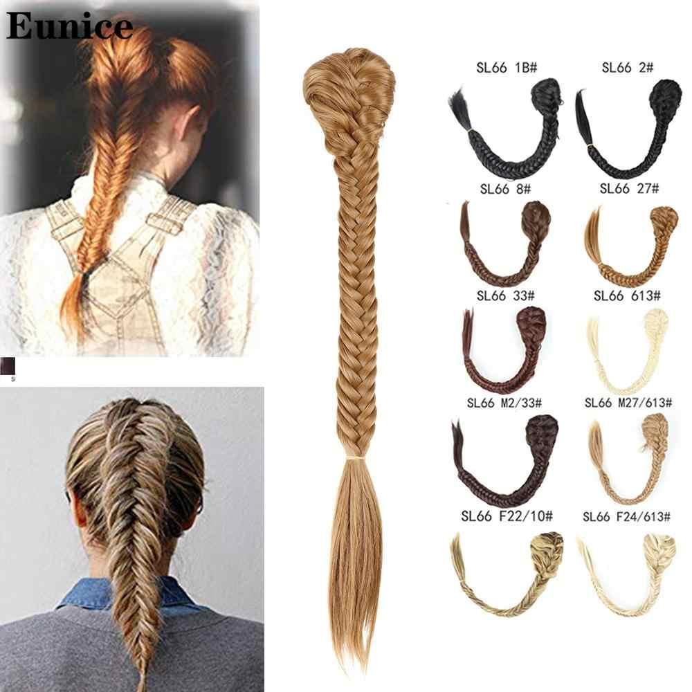 Włosy syntetyczne plecione plecione fishtail fishbone sznurek przypinany kucyk do przedłużania włosów czarny Brwon kolor Chignon Hairpiece