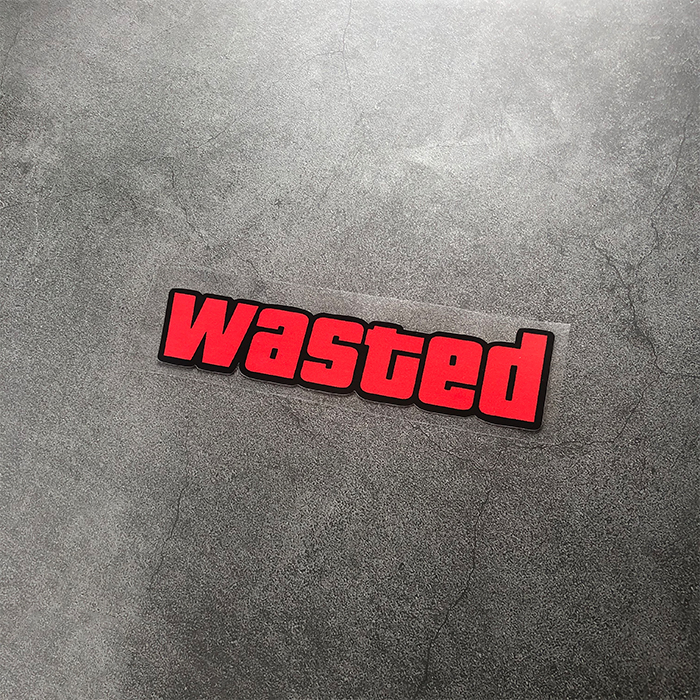 Car Styling Stickers letter WASTED Automobile Motorcycle Helmet Decal