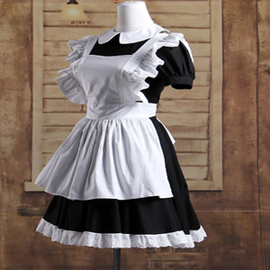 Image 5 - הוט קוטור גותי לוליטה מותניים סינר שמלת עוזרת חליפות כותנה יפני קוספליי תחפושות לבן טלאי רול שרוולים קצר