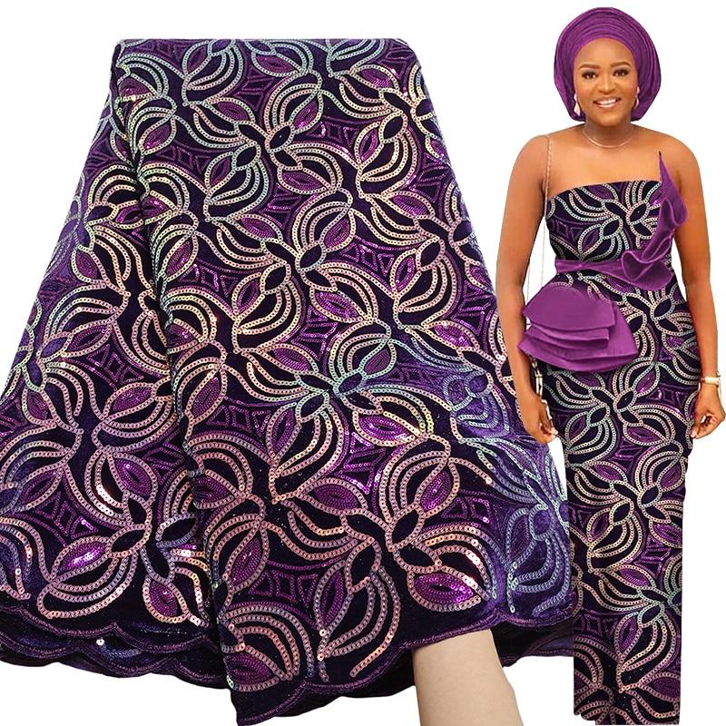Bestway новейшая мягкая африканская Кружевная Ткань 5 ярдов 2020 высокое качество многоцветные блестки бархатный кружевной материал нигерийска...