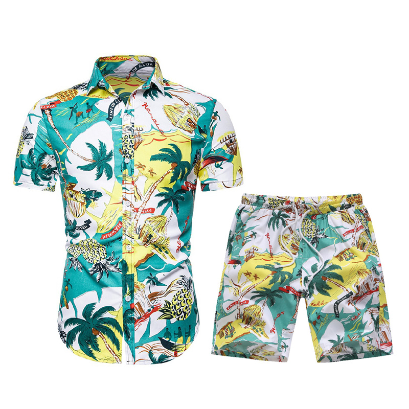 Summer New Men's Set For Beach Travel Colorfull Casual Hawaiian Clothes Maple Leaf Boardshorts+Print Shirts Holiday Swimwear