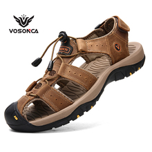 Vosonca Men Shoes Summer Hollow Baotou Flip Flop Sandals For Mens Genuine Leather Casual Breathable Soft Outdoor Sports