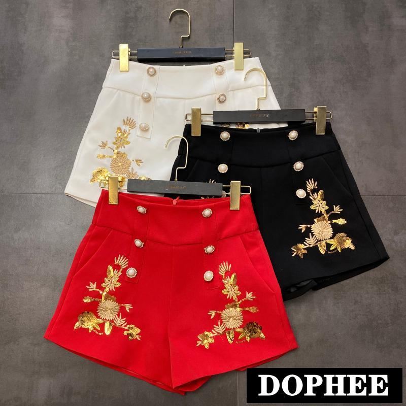 2020 Spring New Sequins Flower Embroidered Pearls Shorts Women High Waist Double-breasted Boots Shorts Lady