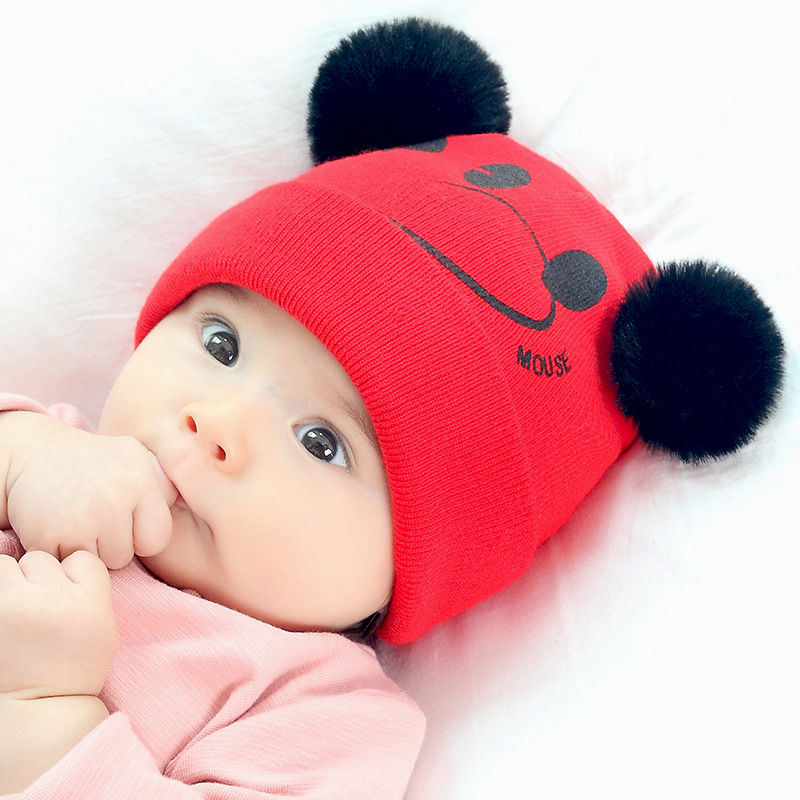 Kids Autumn And Winter Hats Baby Beanie Wool Warm Hat Double Pom Pom Ball Pullover Knit Hat Cute Cartoon Red Skull Gorra Caps