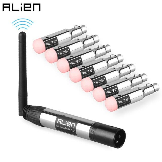 Alienígena 2.4g ismo dmx512 dfi controlador, recarregável, receptor sem fio, transmissor de bateria embutido, 3 pinos xlr para dmx luzes do palco