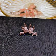 Женские серьги гвоздики с цирконом цвета розового золота в Корейском