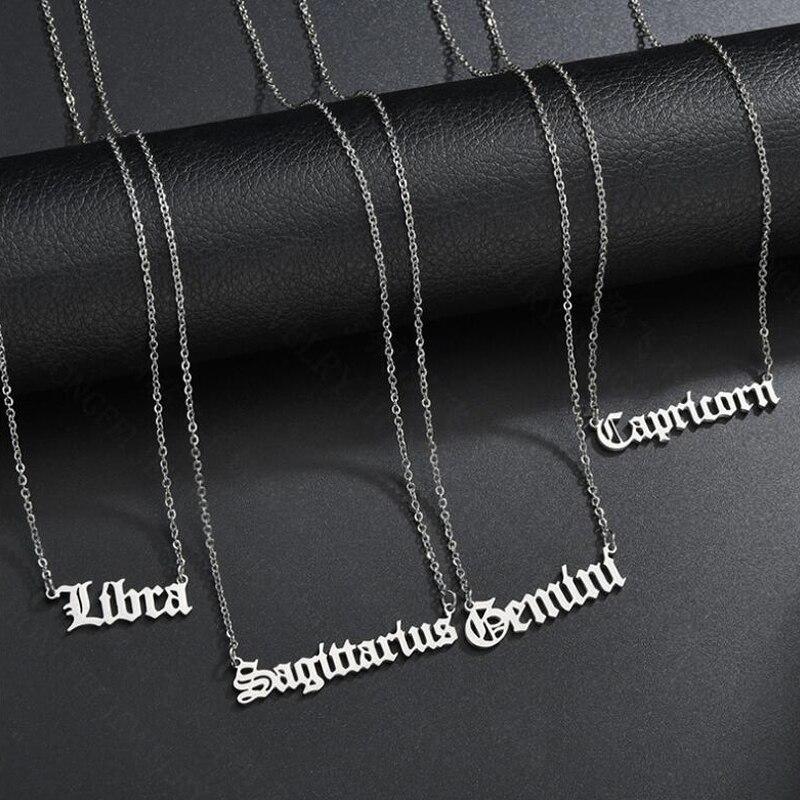 Colar com 12 letras do zodíaco, colar velho de inglês com 12 anos para mulheres, colares de letras de leo, virgo, cancro, gemini, aquário, joias de bff