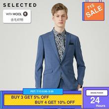 SELECTED Men's Slim-Fit Woolen Blazer Pure Color Closure Collar Jacket Clothes T