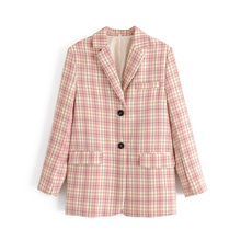 Women's blazer early autumn new style retro color check printing temperament sin