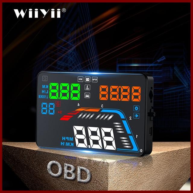 GEYIREN A100S z osłoną przeciwsłoneczną Q700 wyświetlacz samochodowy HUD wyświetlacz OBD II EUOBD wyświetlacz parametrów wozu na szybie elektronika samochodowa lepiej niż C60 C80