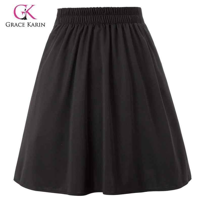 Gnade Karin Frauen Elastische Hohe Taille Rock Plissee Ausgestelltes A-linie Tasten Verziert Elegante Schwarz Faldas Rock frauen