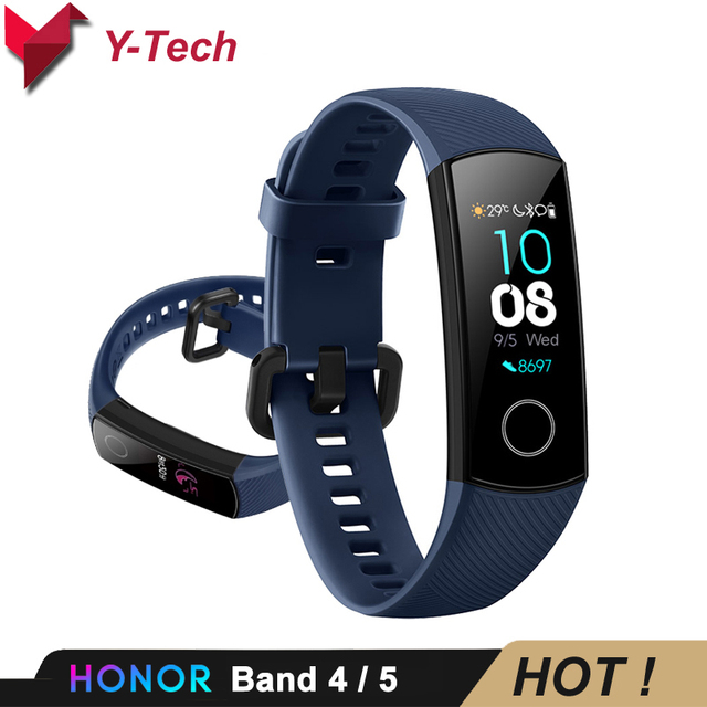 Huawei Honor 4 Band 5 สมาร์ทนาฬิกา 50 M กันน้ำฟิตเนส Tracker หน้าจอสัมผัส AMOLED Heart Rate Monitor ข้อความแสดง