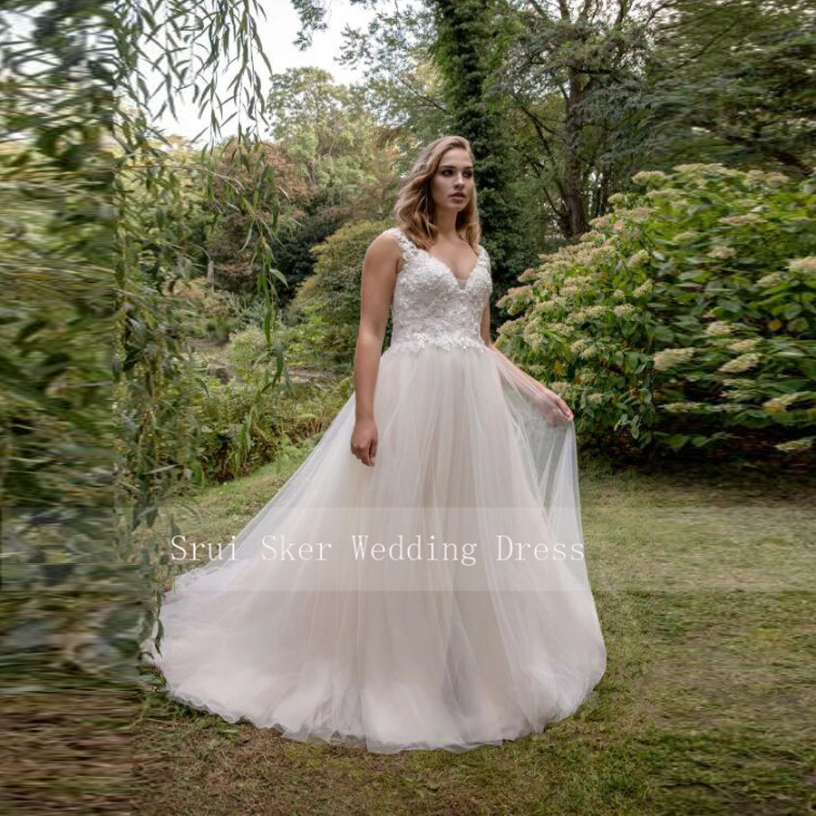 2020 Morden Wedding Dress A-Line Tulle Gowns With Appliques Champagne Bridal Dresses Plus Size Lace Up