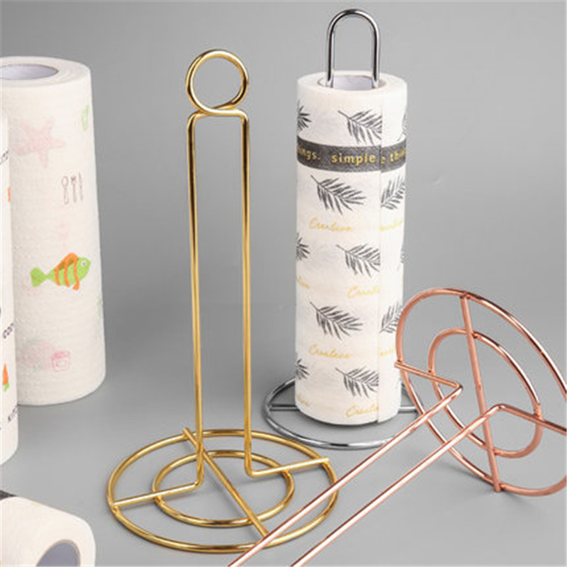 Kitchen Roll Paper Holder Towel Rack Bathroom Stainless Steel Paper Stand Gold Silver Tissue Napkins Rack Home Table Decor