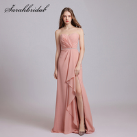 2021 New Arrival A line Chiffon Bridesmaid Dresses Sweetheart Zipper Floor Length Fold Backless Party Prom Formal Gowns 5614