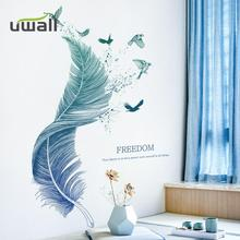 Creative Stickers Blue Feather Wall Sticker Sofa Background Self-Adhesive Wall Decor Room Decoration For Home Bedroom Decor