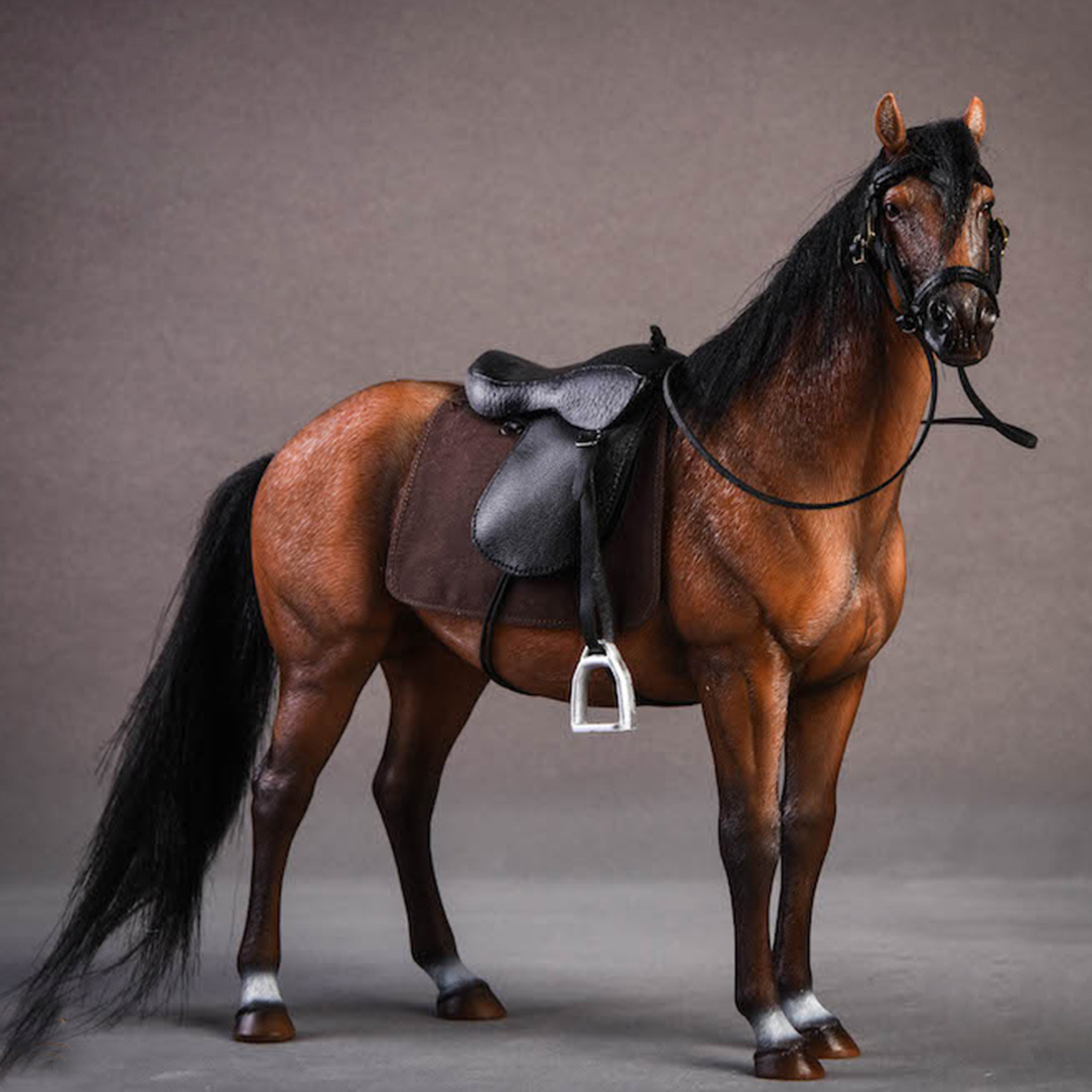 NFSTRIKE 20cm 1/12 Scale Germany Hannover Warm Blooded Model Horse Decoration Scale Model Accessories - Light Brown