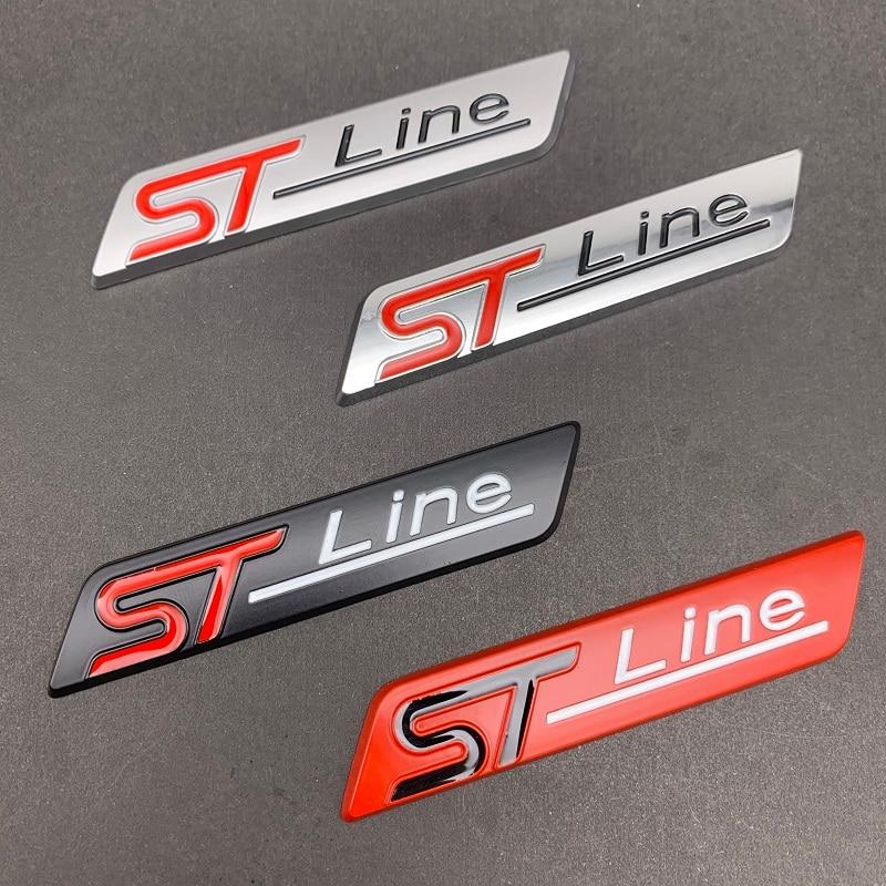 1 pçs metal cromado preto mate stline st linha emblema do carro emblema decalque do carro adesivo 3d emblema para ford focus st mondeo