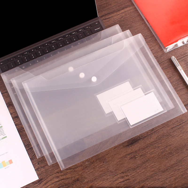 50pcs Transparent Plastic A4 Folders File Bag with label Document Hold Bags Folders Filing Paper Storage Office School Supplies
