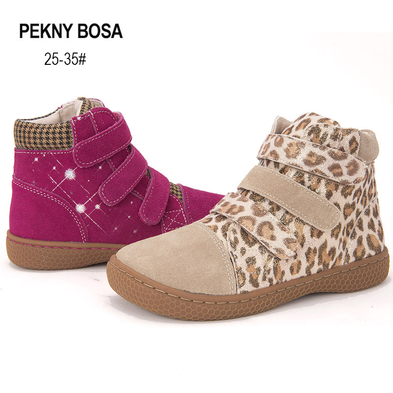 PEKNY BOSA Brand Leather Shoes Girls Boots Barefoot Shoes Leopard Ankle Boots Pink Boots US Size 7-3.5