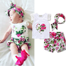 Toddler Infant Baby Girls Romper Floral Print Cotton ruffle Short Sleeve Summer Girls Clothes O-neck Jumpsuit   flower headband недорого